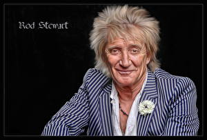 Pictures Man Black background Roderick David Rod Stewart