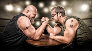 Image Men Two Beard Hands Tattoos Sport