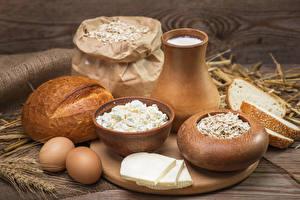 Fotos Milch Topfen Weißkäse Quark Hüttenkäse Brot Käse Kanne Ei