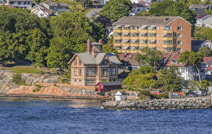 Bilder Norwegen Haus Küste Bäume Buskerud Städte