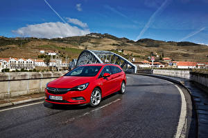 Bilder Opel Rot Metallisch 2016 Astra Sports Tourer BiTurbo (K)