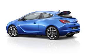 Fotos Opel Blau Seitlich Weißer hintergrund OPC Atra 2013