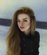 Hintergrundbilder Gezeichnet Braunhaarige Haar junge Frauen