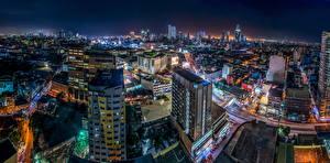 Bilder Philippinen Gebäude Megalopolis Nacht Von oben Manila Städte