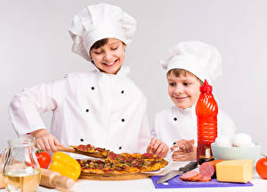 Pictures Pizza Cheese Sausage Boys Two Cooks Smile Children