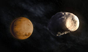 Pictures Planets Mars Phobos Space 3D_Graphics