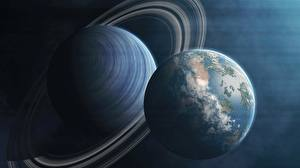 Pictures Planet Planetary ring Space 3D_Graphics