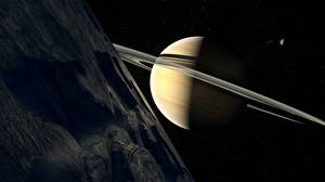 Image Planet Saturn planet Planetary ring Space 3D_Graphics