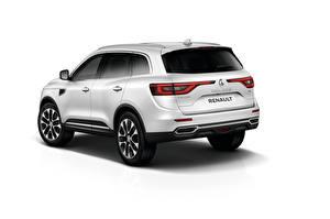Photo Renault White White background Back view Crossover Koleos automobile