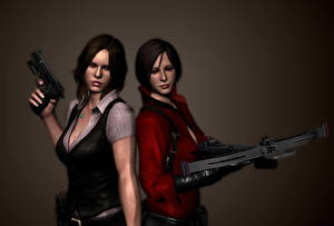Photo Resident Evil 6 Pistols Ada Wong Two Crossbow Helena Harper vdeo game Girls 3D_Graphics