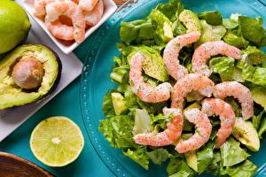 Pictures Seafoods Caridea Lemons Vegetables Salads Food