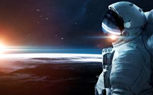 Wallpapers Surface of planets Cosmonauts Helmet Space