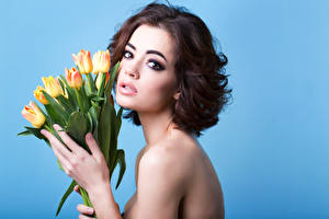 Picture Tulips Brown haired Glance Makeup Girls