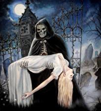 Hintergrundbilder Untoter Gothic Fantasy Friedhof Gevatter Tod Nacht Mond Kapuze Fantasy Mädchens