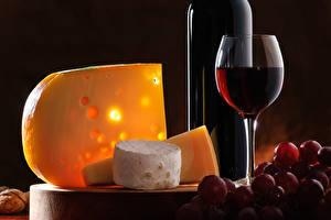 Bilder Wein Weintraube Käse Weinglas Flasche