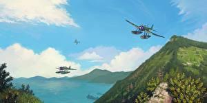 Bilder Flugzeuge Gezeichnet Japanisches Wasserflugzeug Aichi E13A Jake