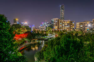 Image Brisbane Australia Houses River Night time Cities