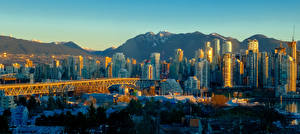 Picture Canada Building Evening Skyscrapers Bridge Mountain Vancouver Cities