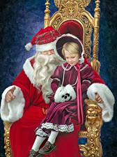 Hintergrundbilder Neujahr Kleine Mädchen Weihnachtsmann Thron Zwei Sitzen Kinder