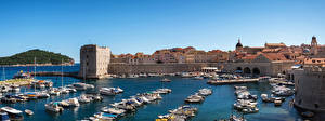 Wallpaper Croatia Building Pier Ships Motorboat Dubrovnik Bay