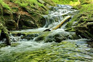 Wallpaper Czech Republic Waterfalls Moss Jeseniky Mountains Nature