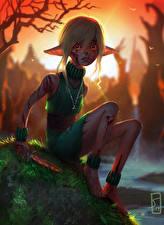 Fotos Elfen Messer Sitzend Kleine Mädchen Erschrecken Fantasy
