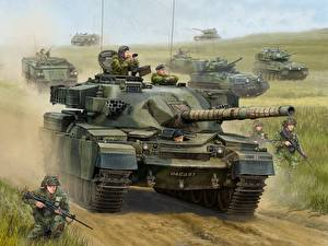 Wallpaper Flames of War Tank Painting Art English Chieftain vdeo game