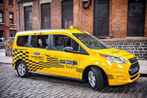 Sfondi desktop Ford Taxi - Auto Giallo Metallico 2017 Transit Connect Hybrid Taxi Prototype