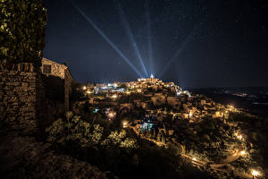 Fotos Frankreich Haus Himmel Stern Nacht Lichtstrahl Gordes Städte