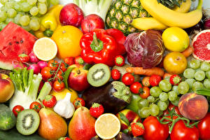 Pictures Fruit Vegetables Bell pepper Tomatoes Pears Grapes Strawberry Kiwi Food