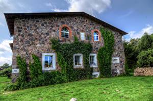 Photo Germany Houses Grass Made of stone Walls Window Klein Zastrow Cities