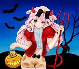 Bilder Halloween Fledermäuse Dreizack Fantasy Mädchens Anime