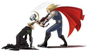 Bilder Superhelden Marvel's The Avengers 2012 Thor Held 2 Umhang Weißer hintergrund Fan ART Loki Film