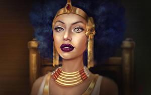 Bilder Schmuck Halskette Gesicht Ohrring Cleopatra Fantasy Mädchens