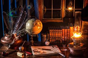 Picture Kerosene lamp Feathers Book Glasses Globe Smoke