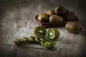 Desktop hintergrundbilder Kiwi Nahaufnahme Stillleben Geschnittene Lebensmittel