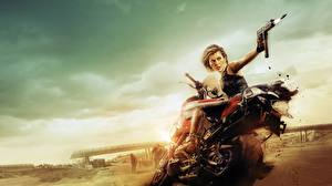 Bakgrundsbilder på skrivbordet Milla Jovovich Resident Evil (film) Resident Evil: The Final Chapter film Kändisar Unga_kvinnor Motorcyklar