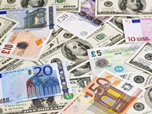 Fotos Geld Papiergeld Dollars Euro