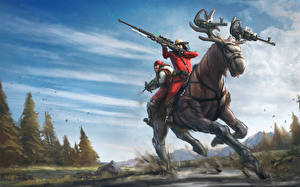 Wallpaper Moose Warrior Sniper rifle Run Snipers Fantasy