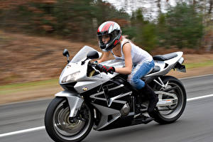 Picture Motorcyclist Helmet Motion young woman