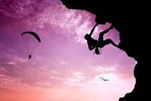 Fotos Bergsteigen Himmel Fallschirmspringen Silhouette Bergsteiger Sport