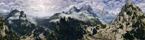 Pictures Mountains Scenery The Witcher 3: Wild Hunt Forests Castle Fortification Fog Kaer Morhen vdeo game