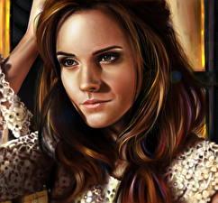 Bilder Gezeichnet Emma Watson Haar Braune Haare Starren Prominente Mädchens