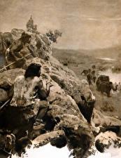 Bilder Malerei Mann Mammute Zdenek Burian Schwarz weiß Jagd Hunting the mammoth