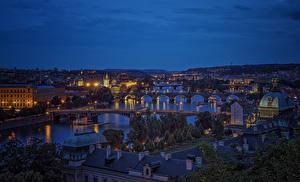 Picture Prague Czech Republic Building Rivers Bridges Charles Bridge Night Cities