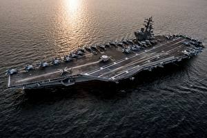 Images Ships Aircraft carrier From above American USS Ronald Reagan (CVN 76) military
