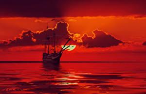 Bilder Schiffe Segeln Meer Himmel Wolke Rot Sonne 3D-Grafik