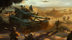 Images Soldier Painting Art Self-propelled gun Convoy military