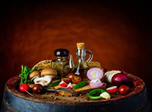 Wallpaper Still-life Seasoning Vegetables Mushrooms Onion Colored background Food