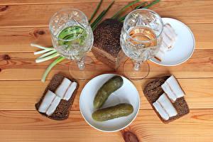 Wallpapers Still-life Vodka Bread Cucumbers Boards Shot glass Salo - Food Saucer Food
